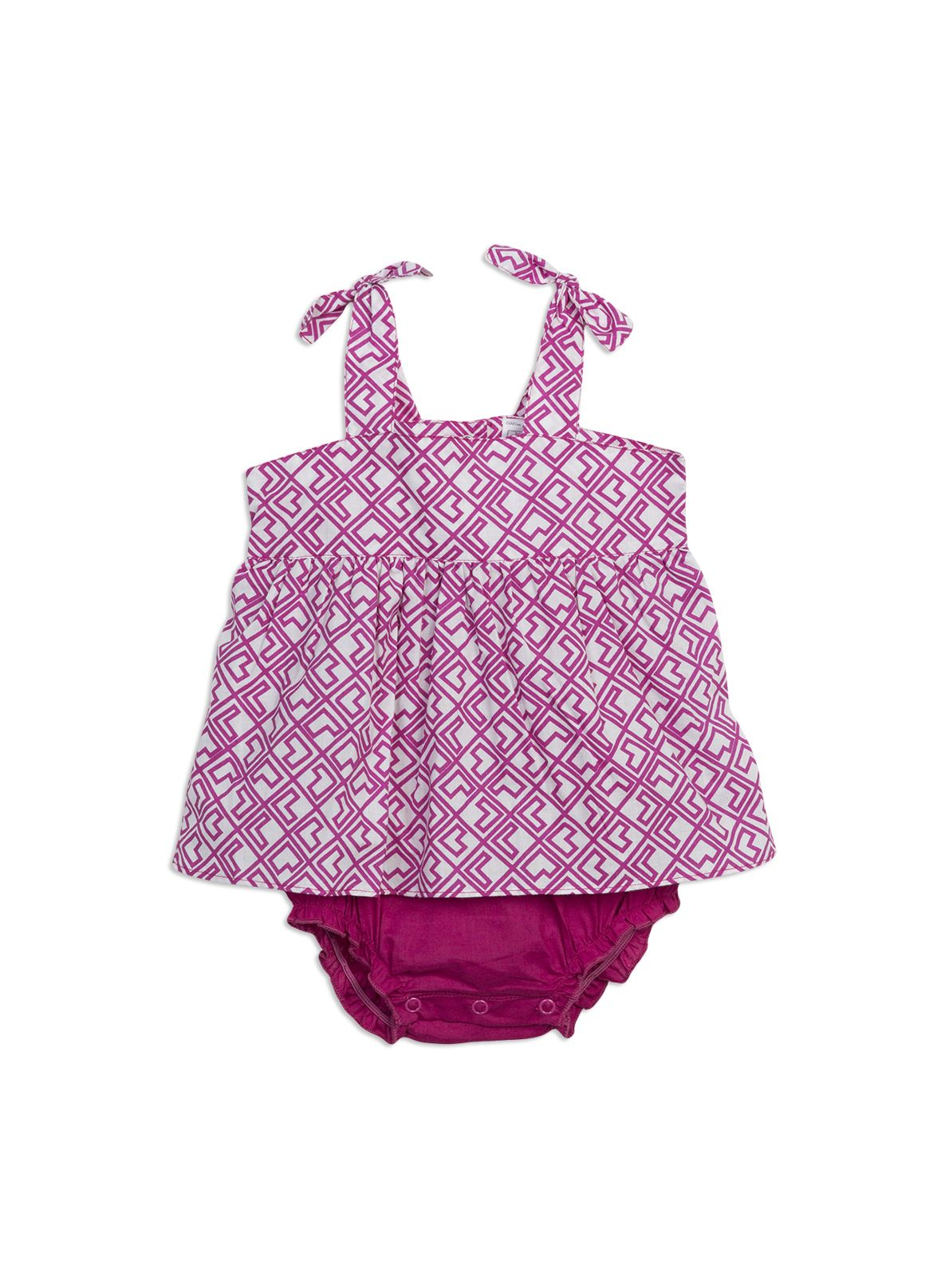 Double layer cotton romper from Charlie&me baby range. Very berry sizes 0-3m to 2. Style S5CF90001.