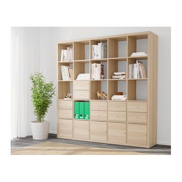 Kallax Shelving Unit With 10 Inserts White Stained Oak Effect 182 X