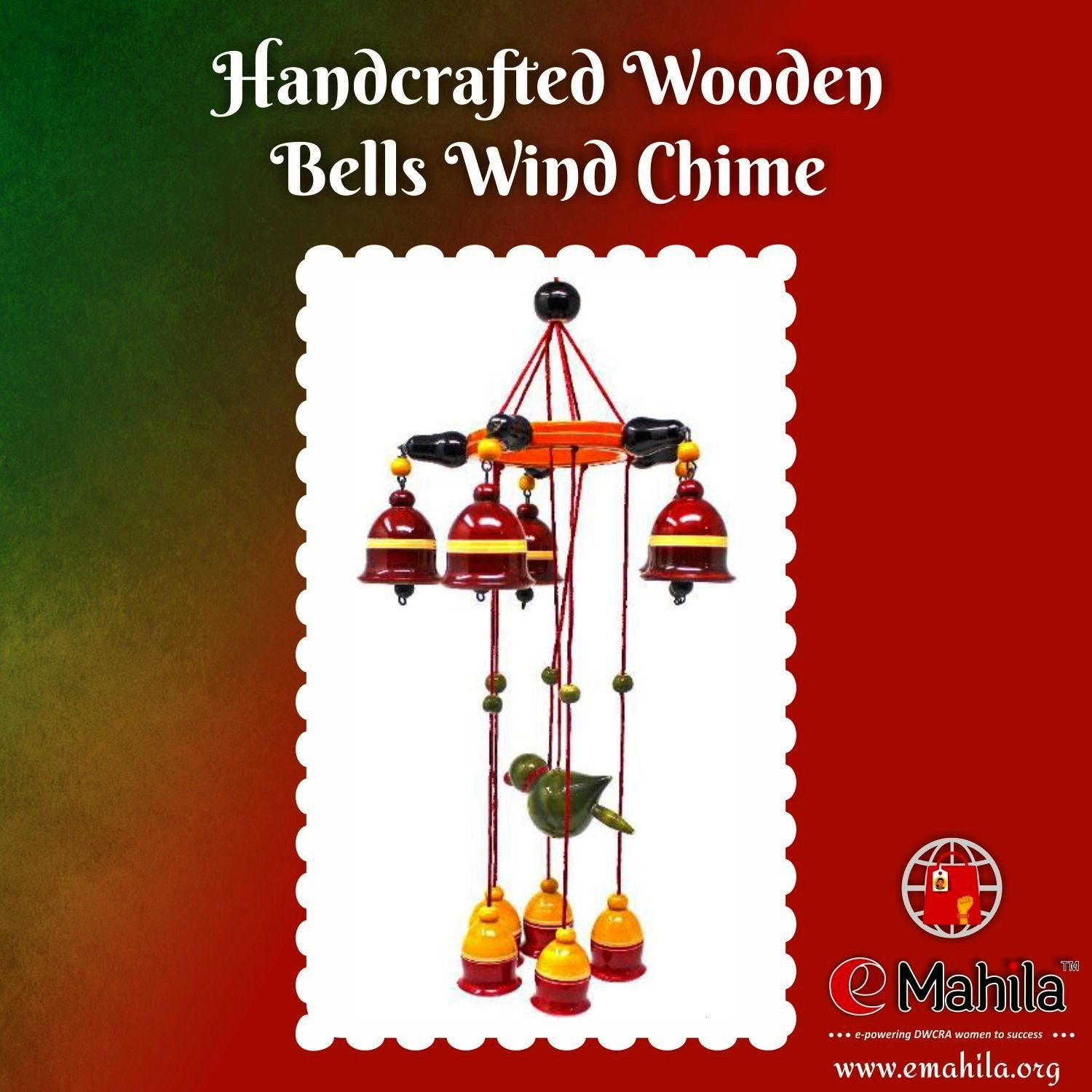 Wooden Bells Wind Chime Wooden wind chimes by Sri Ramadasu SHG is a unique wind chimes which produce musical and enchanting sound unlike any other wind chime Each piece i...