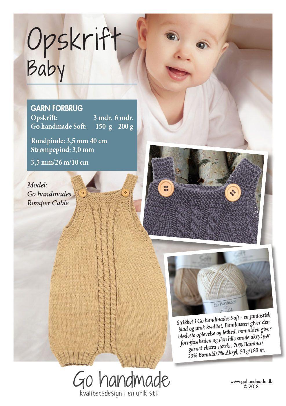4348fd09de7 Romper Classic GARN FORBRUG: Str. 3 måneder: 150 g Go handmade Soft garn  Str. 6 måneder: 200 g Go.