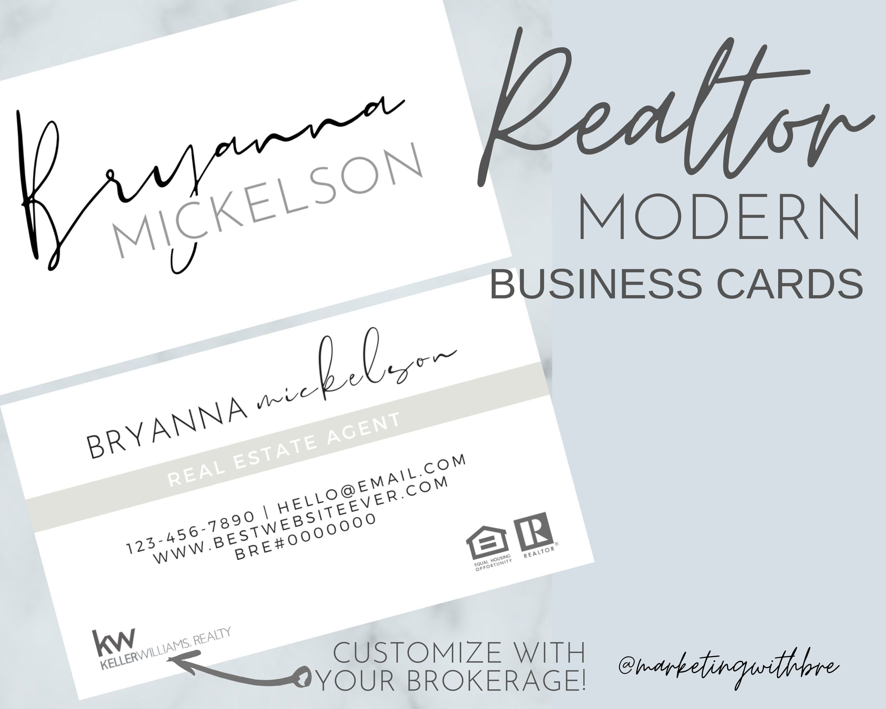 Realtor Business Cards Printed Business Cards Etsy in