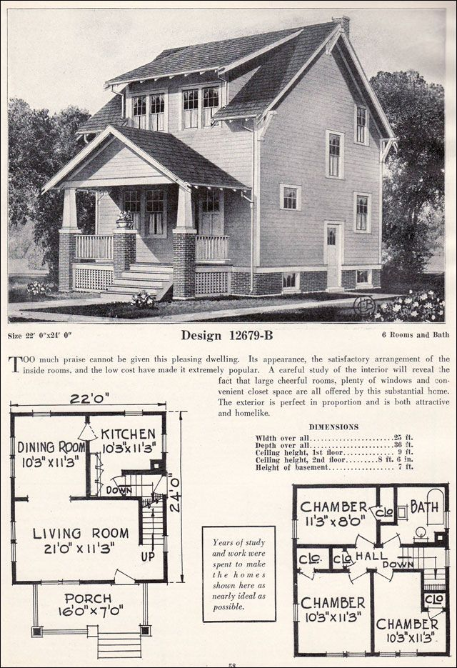 Four Squar House Design Of 1900s: ... Craftsman Plan Cottage - C