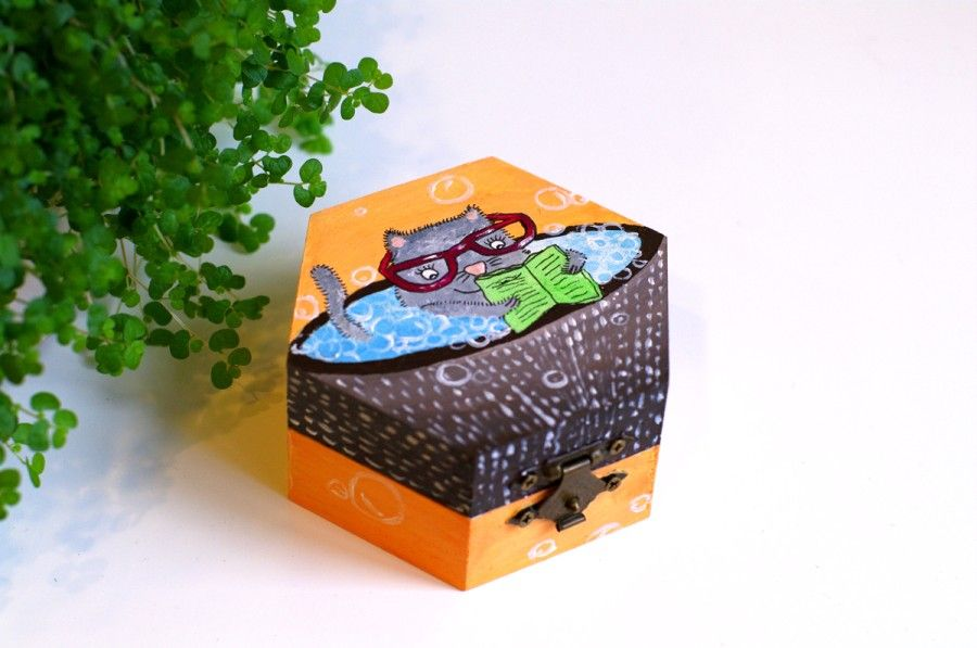 Wooden box with painted cat - Hand painted Wooden boxes - Painted jewelry boxes - Wooden box cat - Jewellery box cats - Trinket box - Cat lover gift