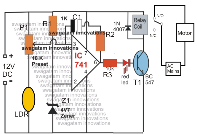 Light Activated Water Level Controller Circuit Homemade Circuit
