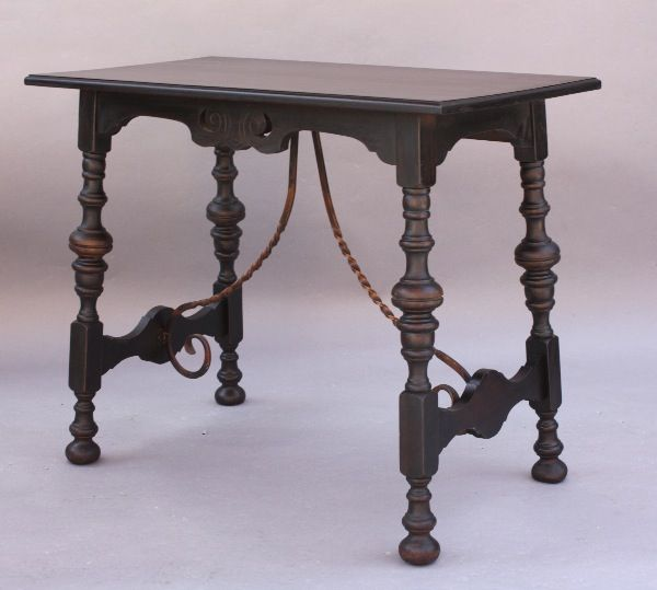 1920u0027s Spanish Revival Side Table With Iron Trestle, Tables And Desks,  Spanish Revival,
