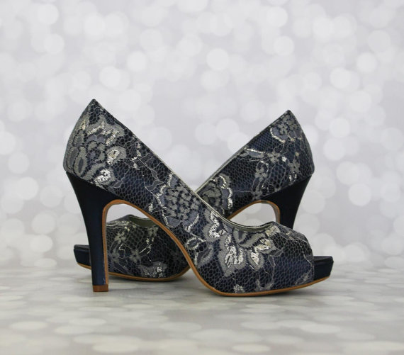 Navy Blue Wedding Shoes Lace