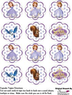 free printable cupcake tops favor box sofia the first princess sofia