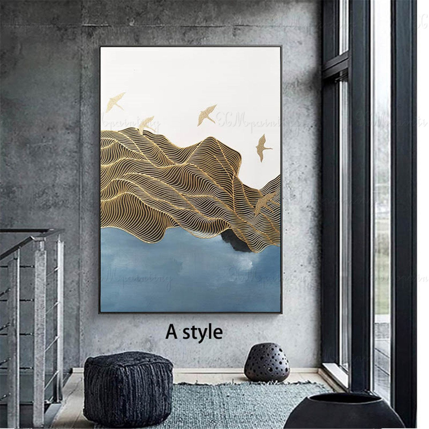 gold line acrylic abstract painting on canvas wall art on modern acrylic paintings for living room id=71064