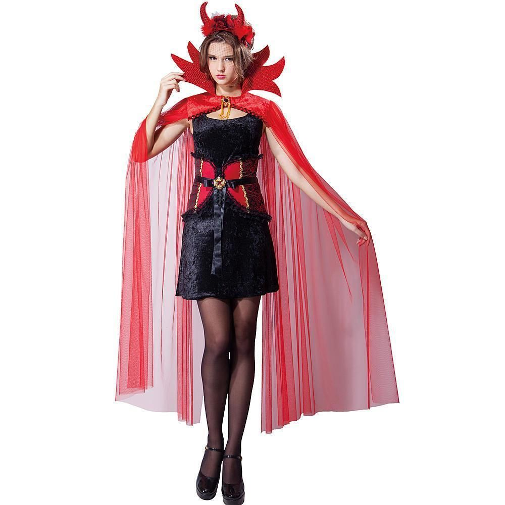 new mystical red devil dress flame cape sexy halloween costume adult osfm bootique - Mystical Halloween Costumes