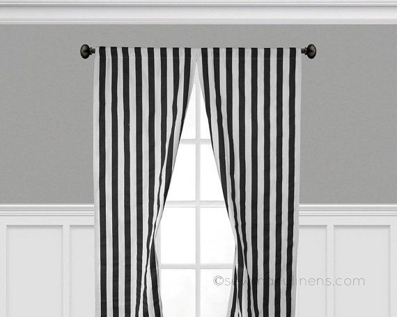 Black And White Stripe Curtain Panels Window Treatments Black