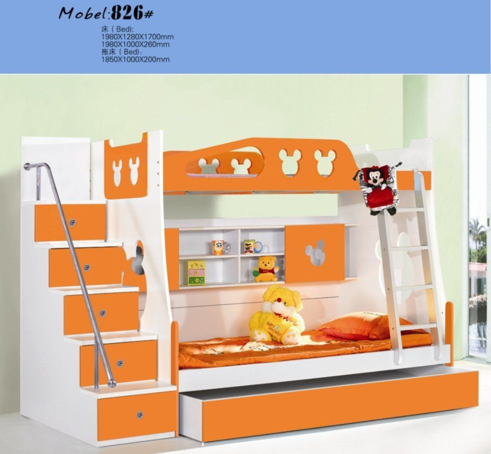 Mdf Panels Children Bed Full New Bunk Bed With Stairs Orange Colour On