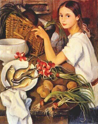 Tata with Vegetables, by Zinaida Yevgenyevna Serebriakova (Russian, 1884-1967)