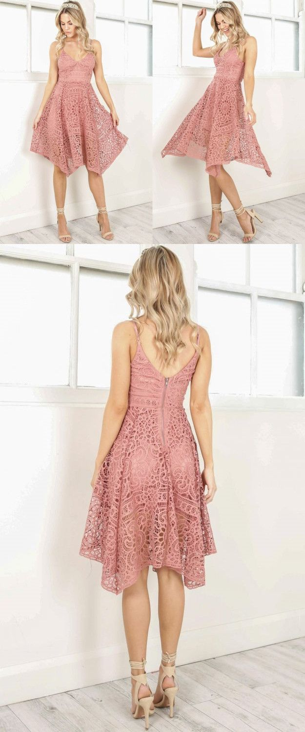 Cute straps short pink lace homecoming dress party dress dresses