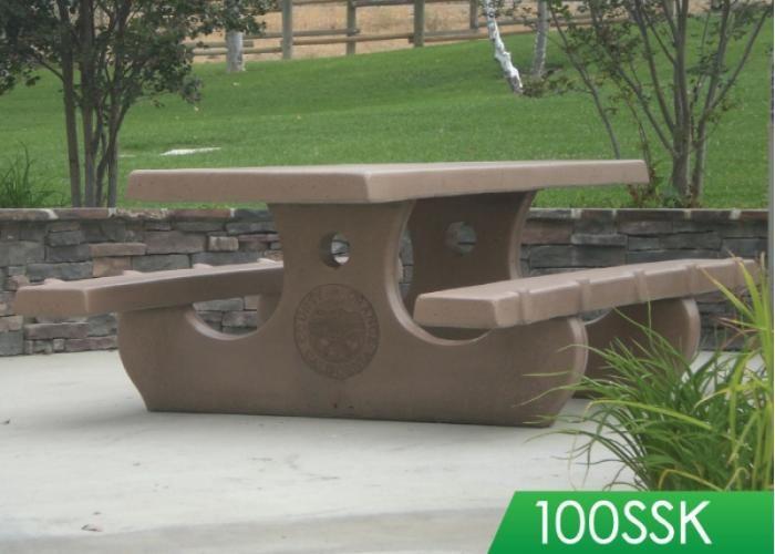 Precast Concrete Picnic Table 92 Long Anti Skate No Assembly No
