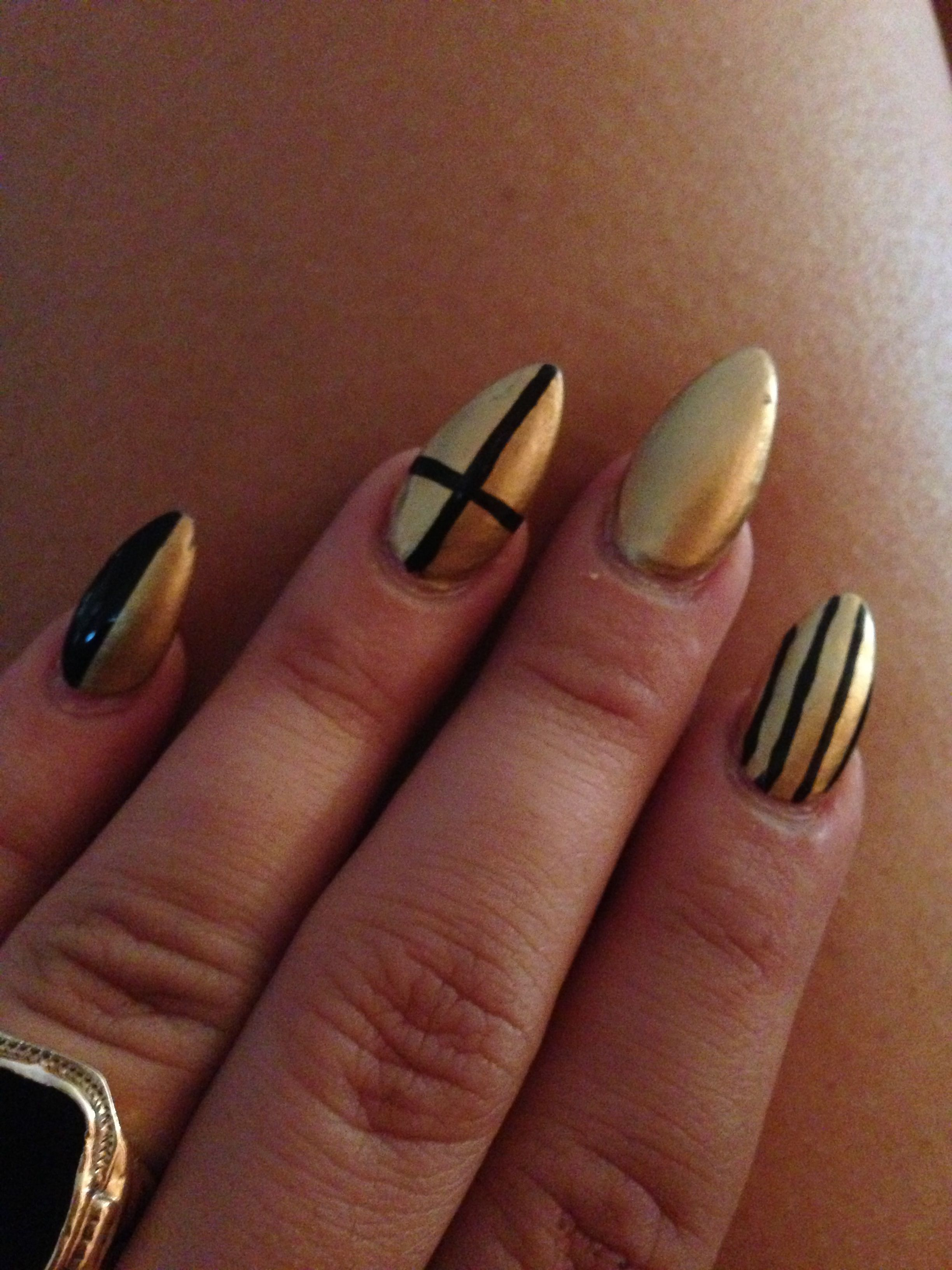 Black&gold stiletto nails Cross nails Striped nails Nail