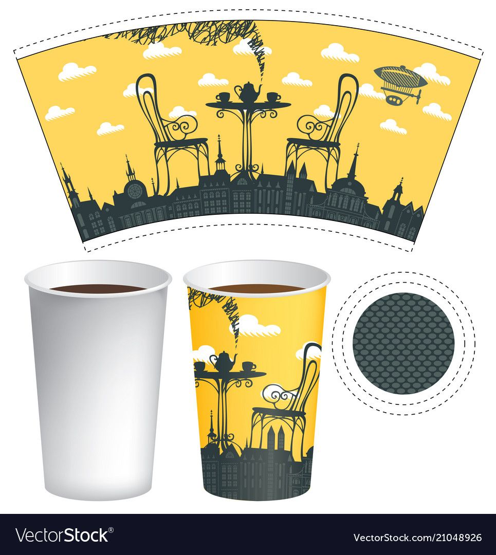 Paper cup template with street cafe and coffee cup vector ...