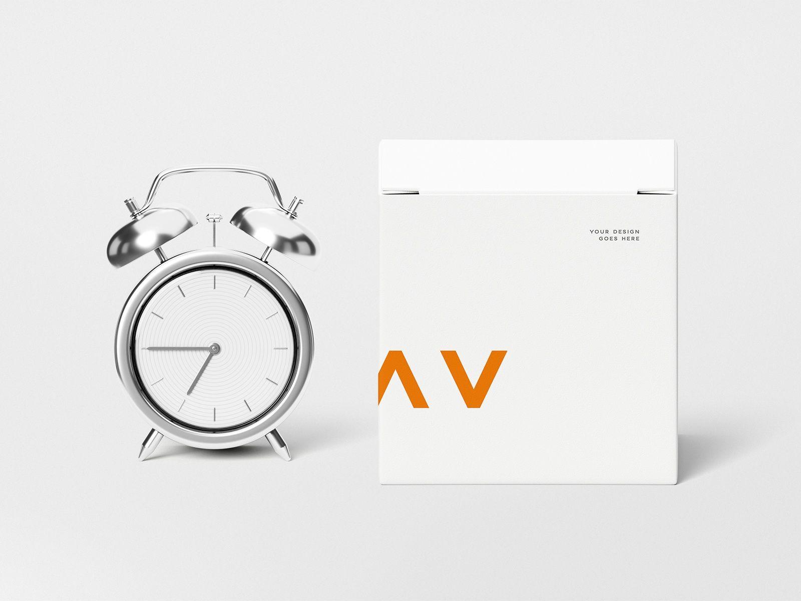 Download Freebie Clock With Box Mockup Box Mockup Clock Photoshop Mockup