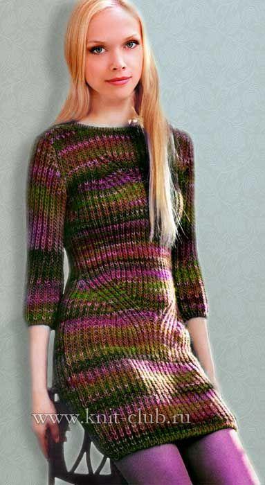 Вязание платья спицами патентной резинкой | вязание ...