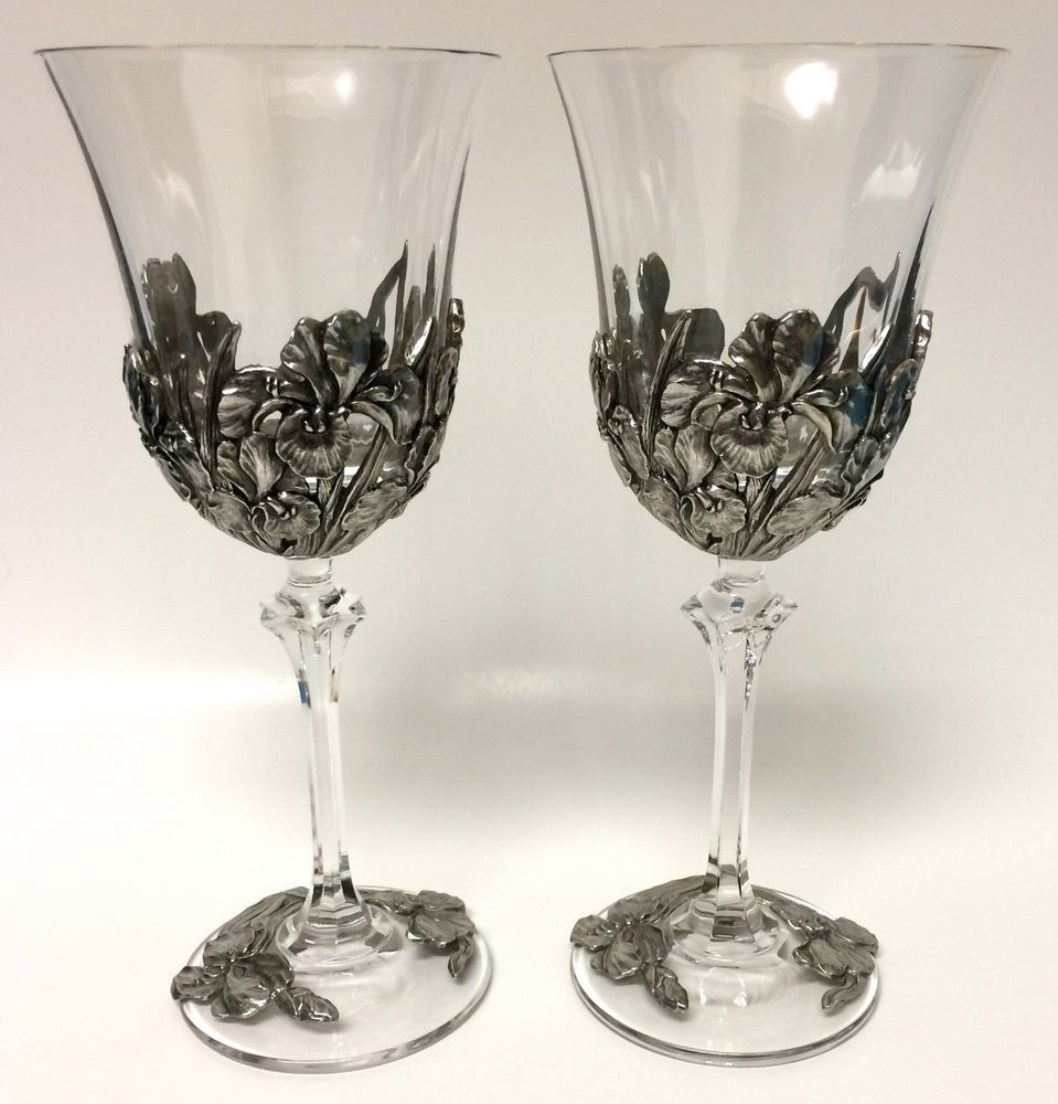 Pair Of Royal Selangor 1997 Pewter Wine Glasses Goblets