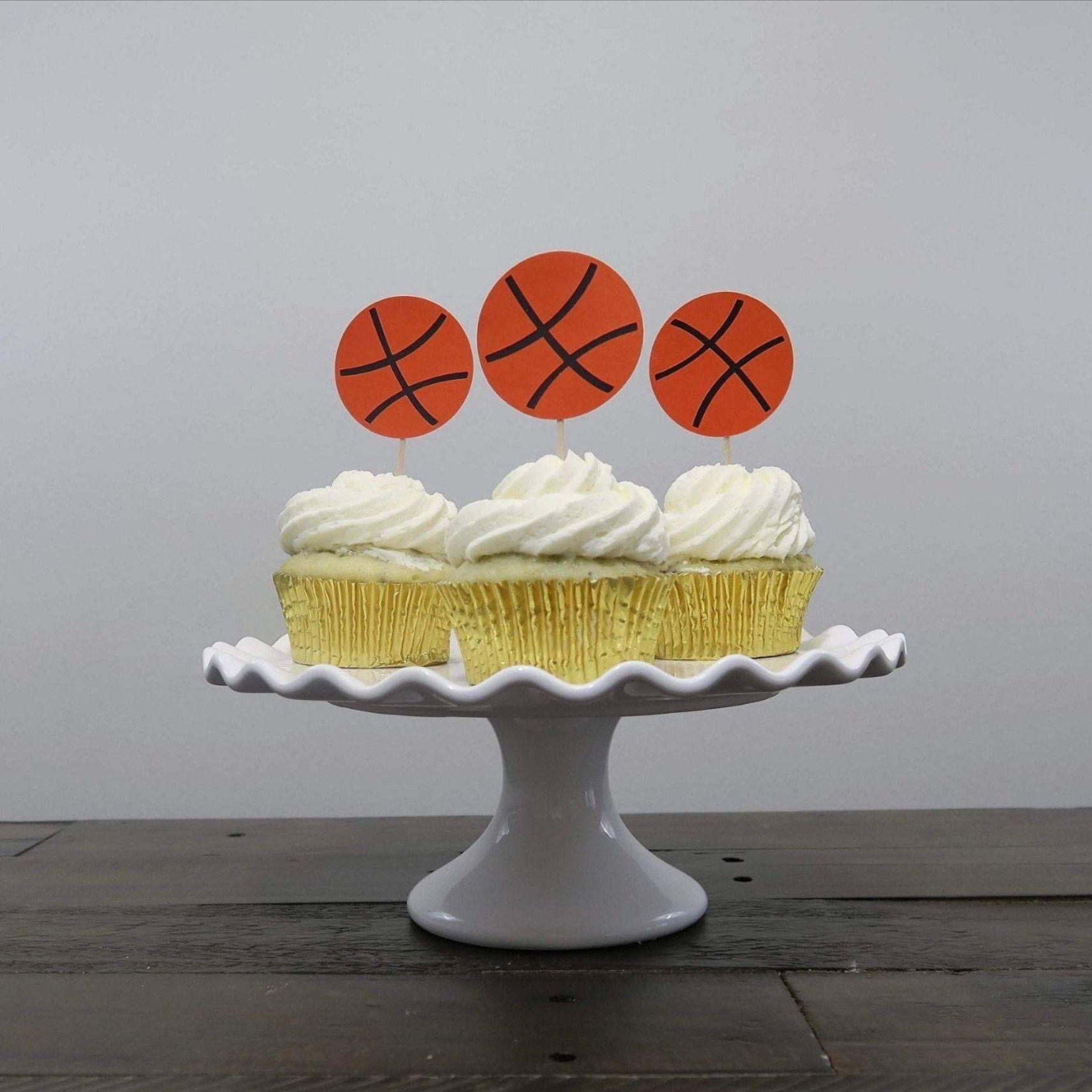 Basketball Cupcake Toppers, Basketball Birthday