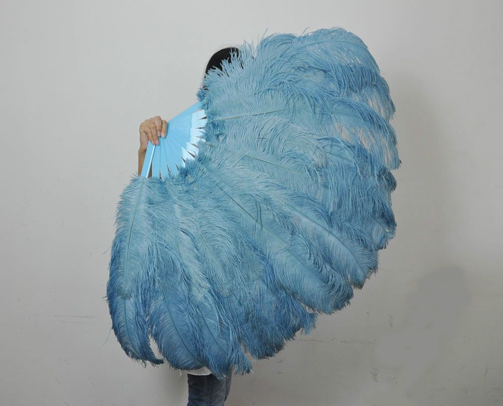 Baby Blue 2 Layer Ostrich Feather Fan Burlesque Dancer Perform Friends 30 X 54 Feather Fan Burlesque Baby Blue