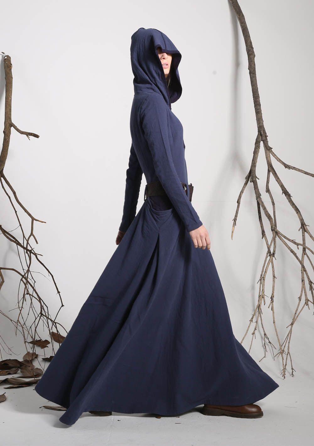 Hooded dress maxi dress dress pockets blue dress linen dress