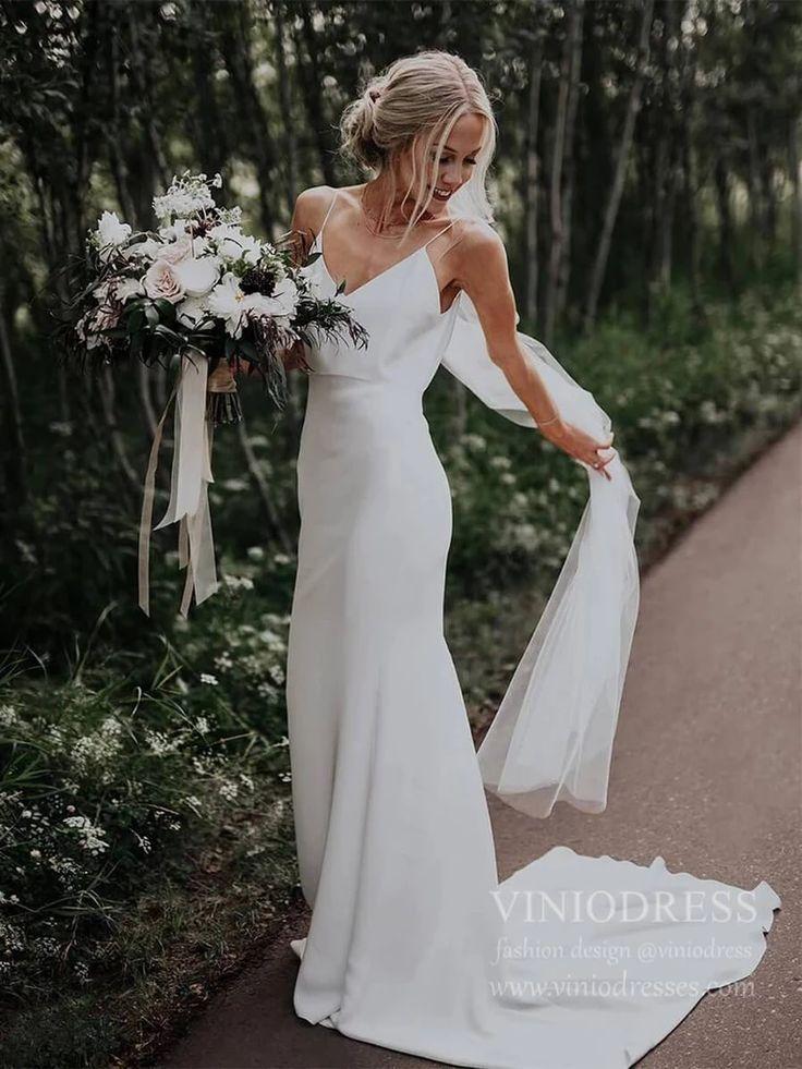 Elegant Spaghetti Strap Minimalist Wedding Dresses 2019 VW1420