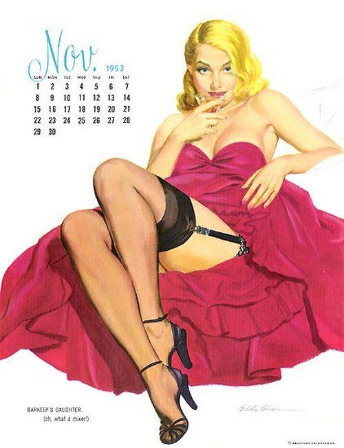 Calendrier Pin Up.Ballyhoo Calendar Pin Up Illustration Miss November 1953
