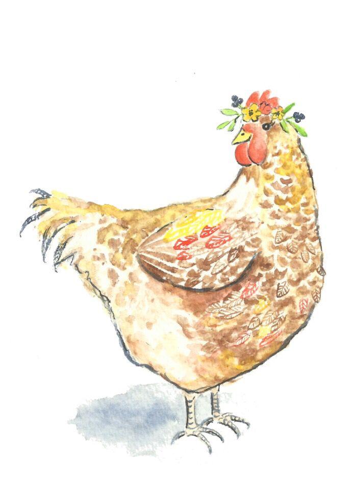 Chicken watercolor - farm animal nursery art - chicken wall art ...