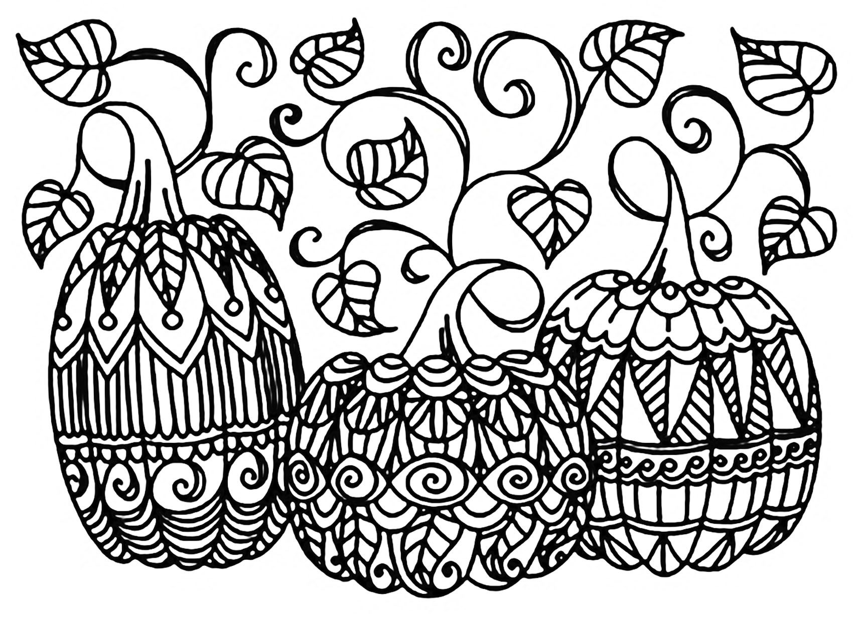Three Pumpkins to print & color ... It\'s Halloween !, From the ...