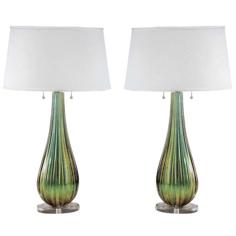 1 green and gold murano glass table lamps attr barovier glass 1 green and gold murano glass table lamps attr barovier aloadofball Image collections