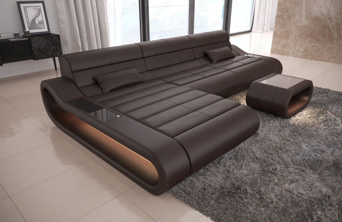 Leather Couch Concept L Shape With Led Lighting Modern