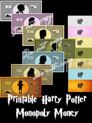 Harry Potter Monopoly Money Printable Instant Digital Download