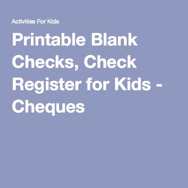 Printable Blank Checks, Check Register For Kids