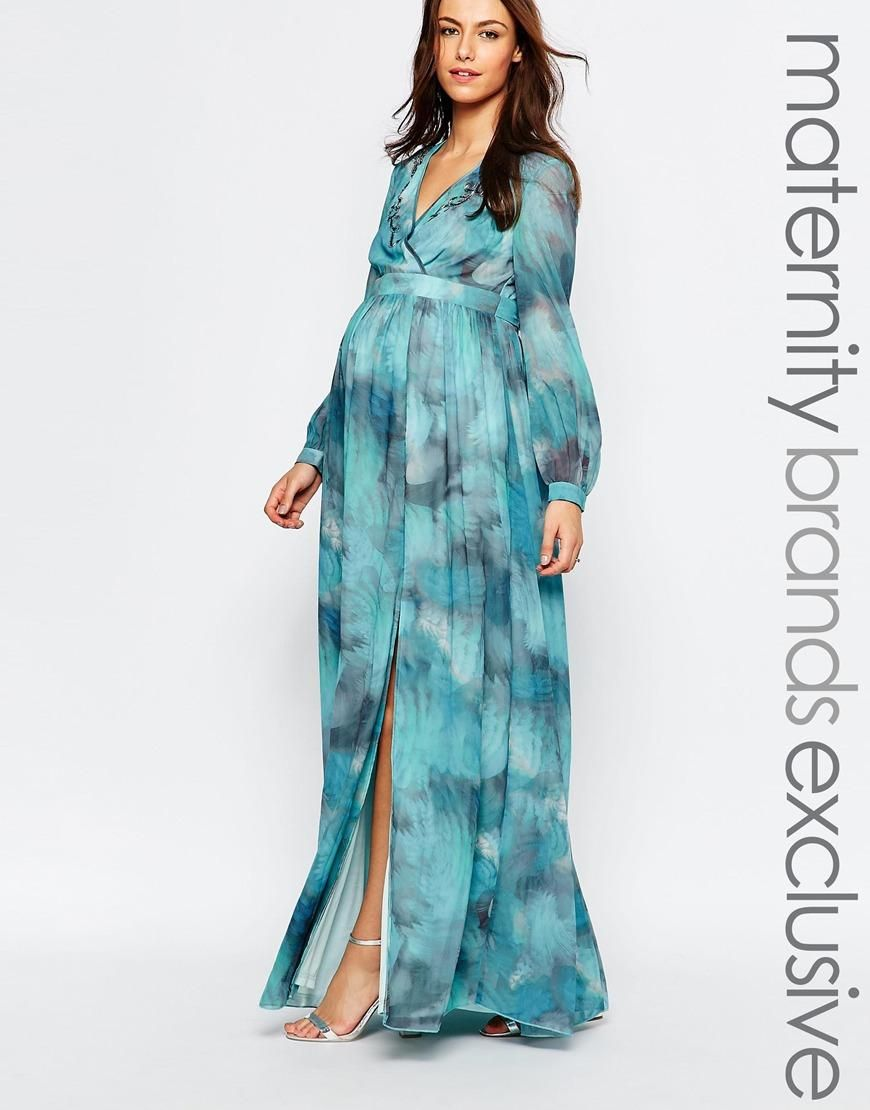 Little Mistress Maternity | Little Mistress Maternity Printed Maxi ...