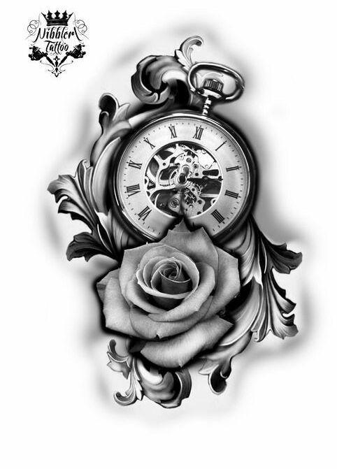 Rose Clock Tattoo Designs Drawing: Clock Tattoo Design, Pocket Watch