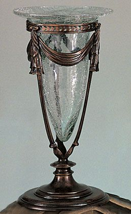 Large Bronze Vase with Crackle Glass   Table Decor   Restaurant Lighting   Restaurant decor   Table lamp   Restaurant table lamp   Candelabra   Tall centerpiece