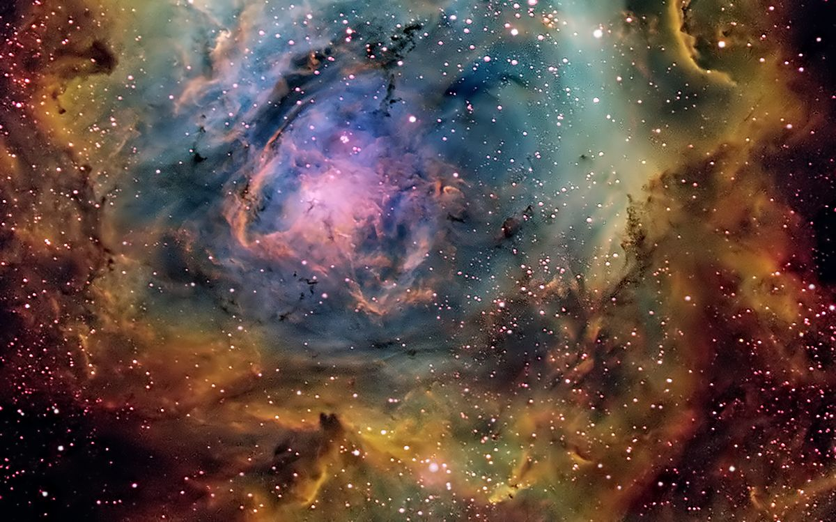 Lagoon Nebula (Messier 8, M8 or NGC 6523) Giant instellar cloud. CLassified as an Emission Nebula and lays in the Constellation Sagitarius.