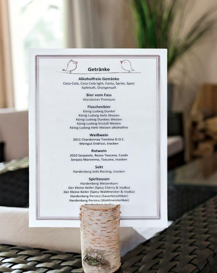 Hochzeitsreportagen Tischdeko Getrankekarte Hochzeit
