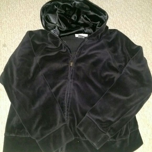 Two piece velour leisure set. Black velour satin lined hoodie and pull on pants. Pants have no draw string but two grommets on waist. Zipper on hoodie is missing long piece but fully functional. Other