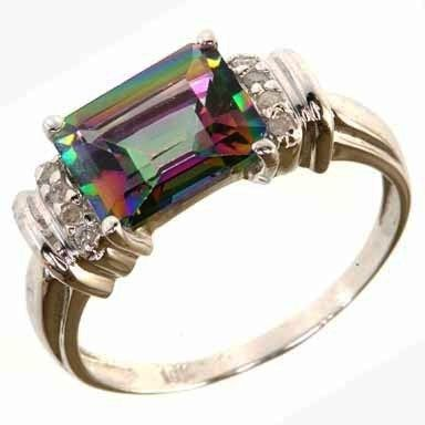 Rockssilverminds 10K WHITE GOLD MYSTIC TOPAZ DIAMOND RING S 7.25rshw