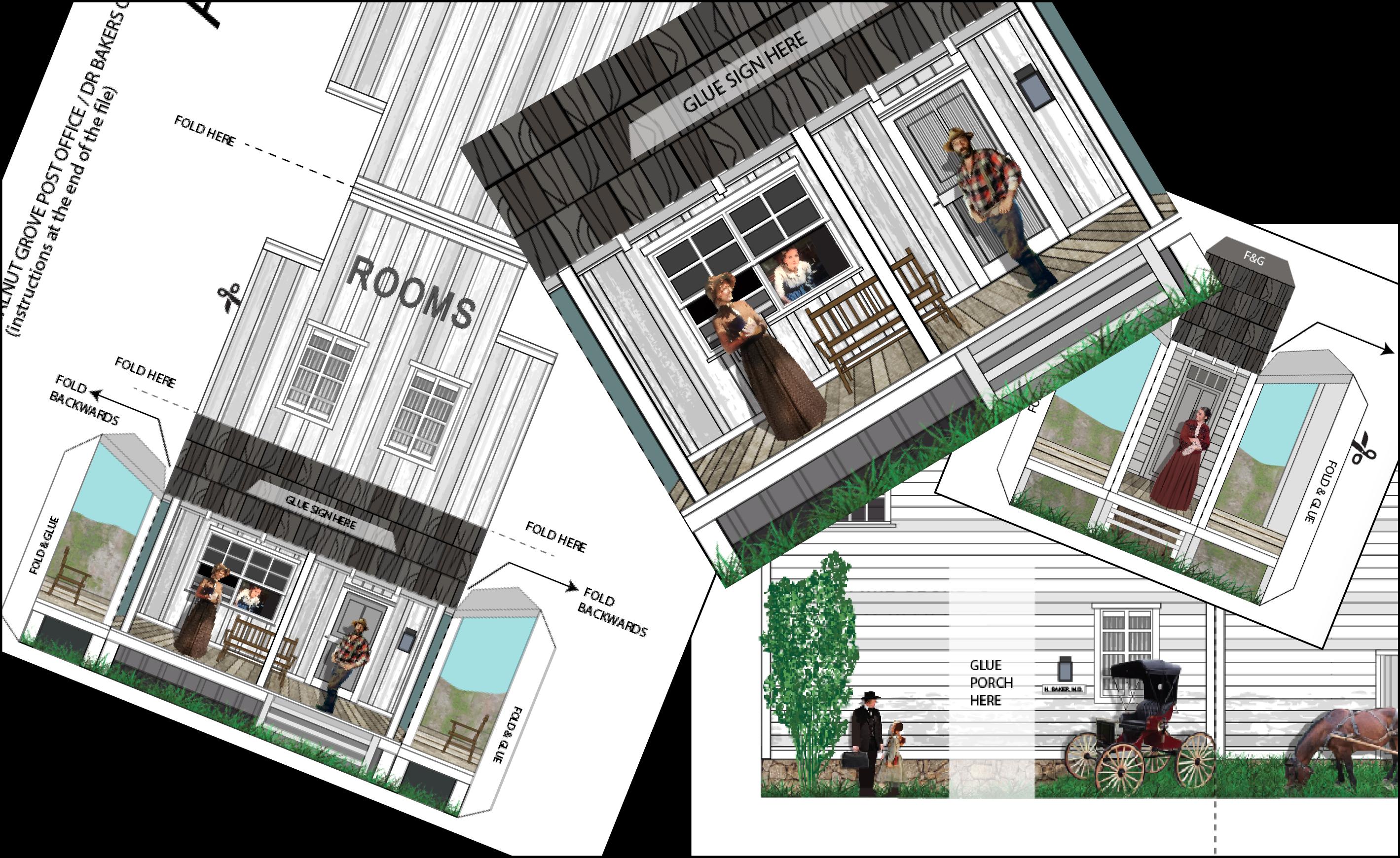 Walnut Grove Post Office Lhotp Miniature Paper Model Paper Models Free Paper Models Little House
