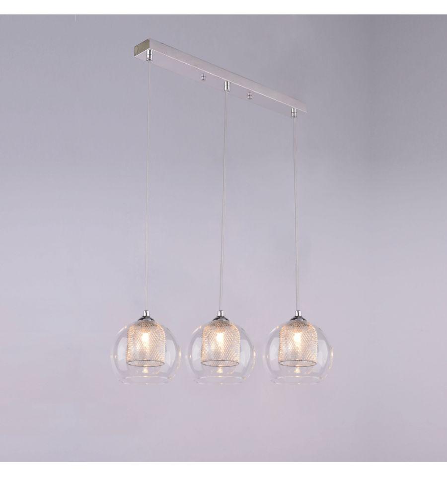 Super Suspension luminaire boule | 3 verres - Lilas | Décoration  EZ88