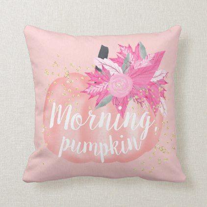 Fall morning pink pumpkin watercolor gold glitter throw pillow   Zazzle.com