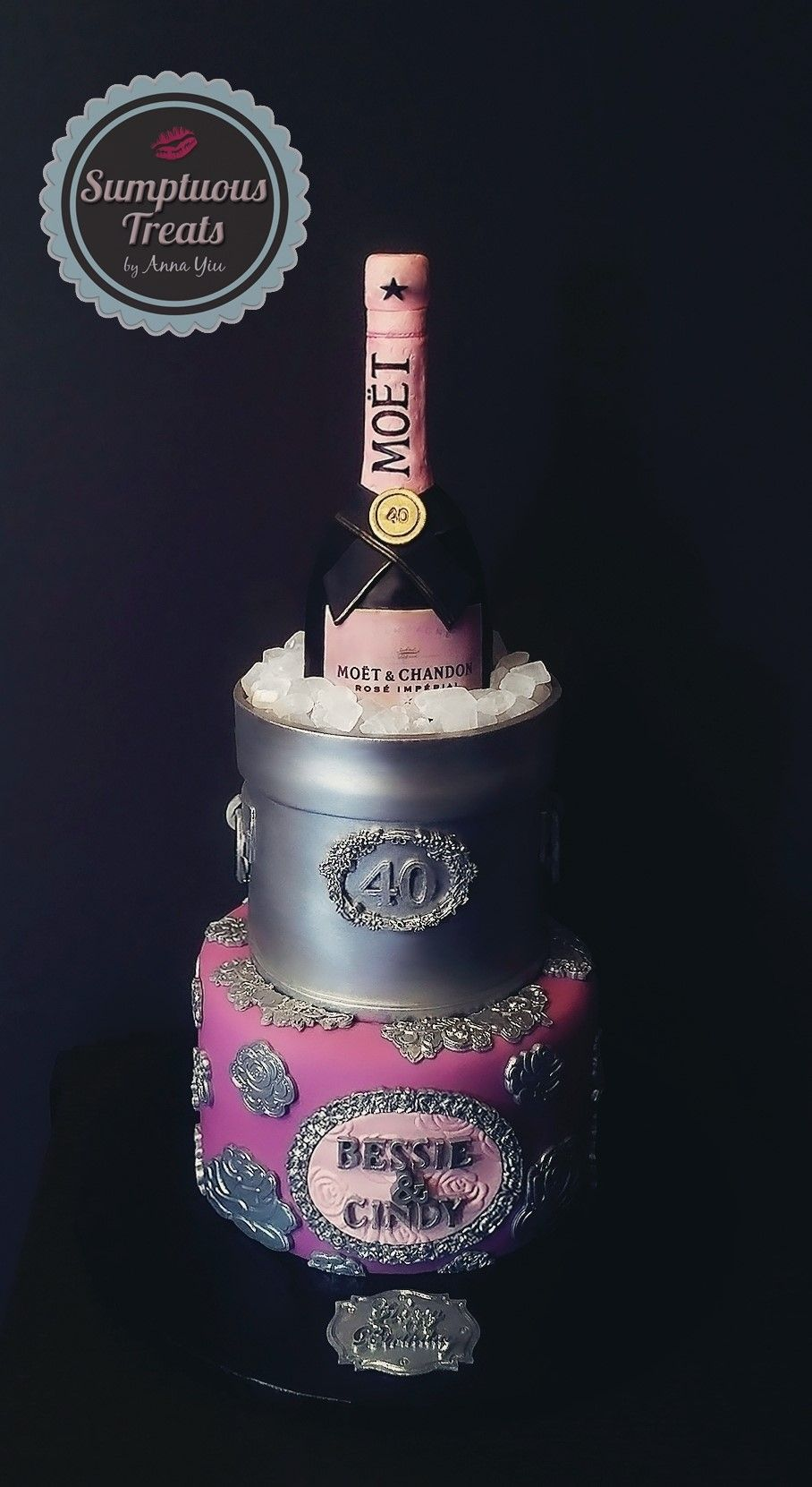 Pink Rose Moet Bottle 40th Birthday Cake Custom Made To Order Cakes Cookies Cupcakes Edible Art Sumptuoustreats