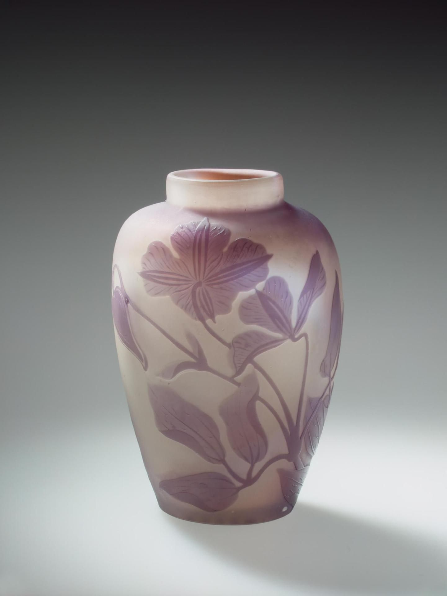 Glass Vase Decorated With Flowering Shoots Of Clematis  Manufactory
