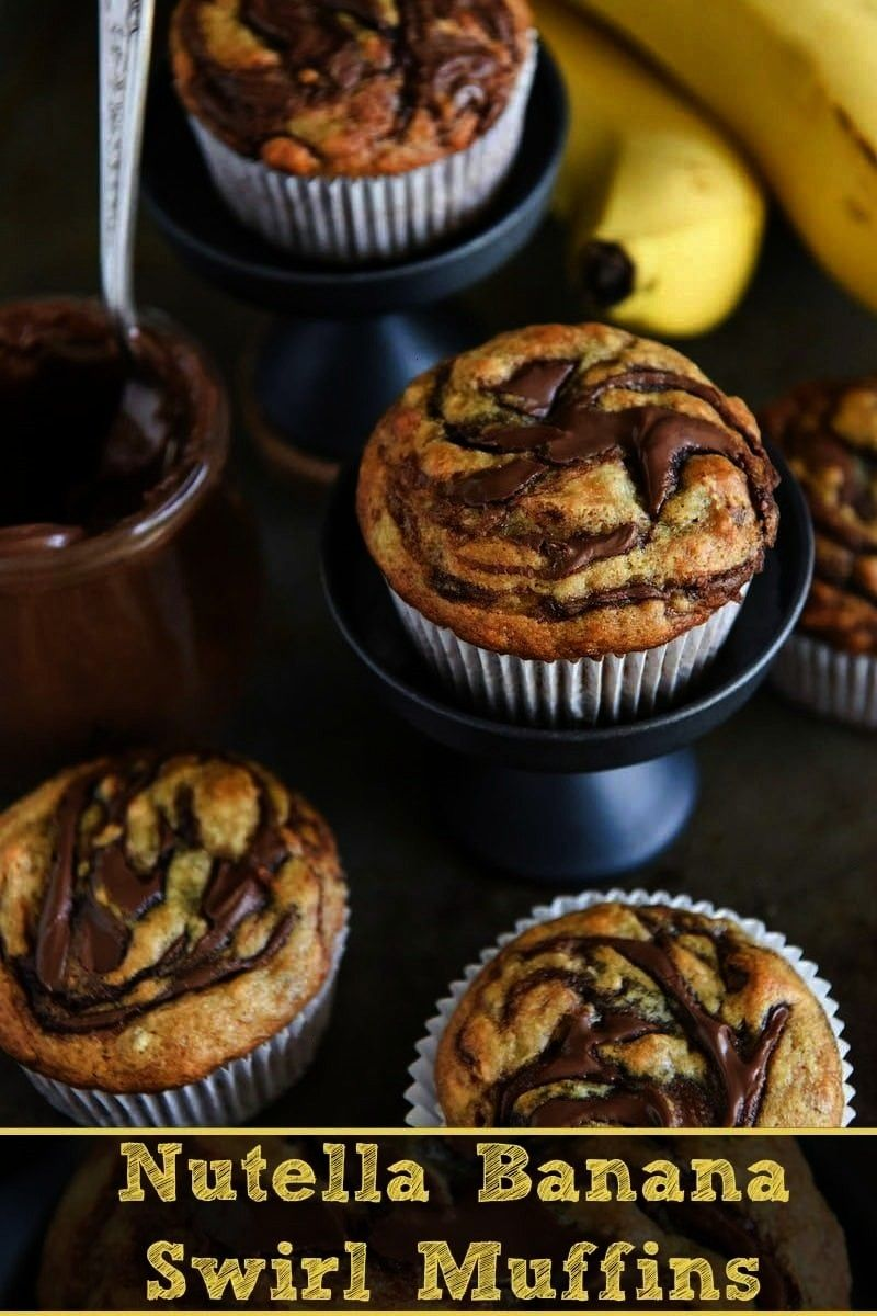 Swirl Muffins you just need onebowl and 30 minutes to make these ultimate banana muffinsNutella Banana Swirl Muffins you just need onebowl and 30 minutes to make these ul...
