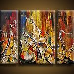 Acrylic and Oil Paintings (Music Art) : Music On Hudson