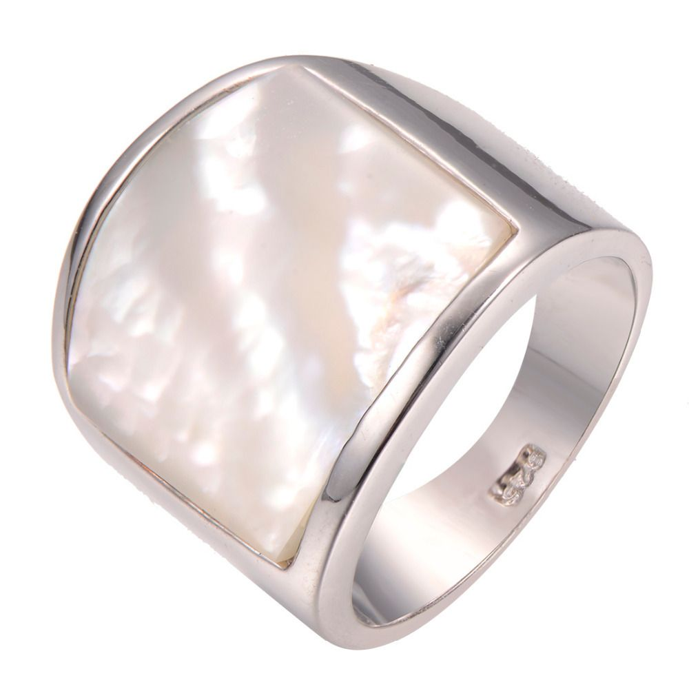 Commercio all'ingrosso Perla shell 925 sterling silver Ring Fashion Ring Size 6 7 8 9 10 F1260