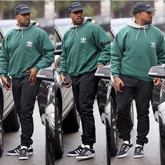 Ye In All Adidas Wearing A Pair Of Adidas Gazelle Kanyewest Adidas Outfit Men Mens Outfits Kanye West Adidas